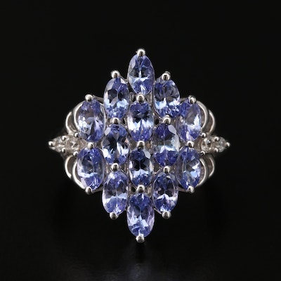 Sterling Silver Tanzanite and Zircon Ring