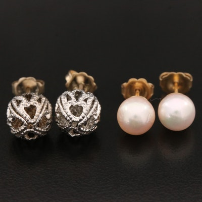 14K Gold Stud Earrings with Pearls
