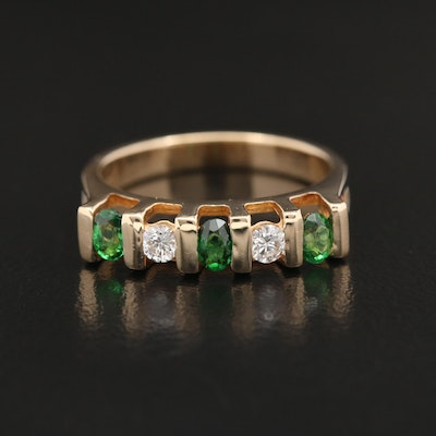 14K Yellow Gold Diamond and Tsavorite Ring