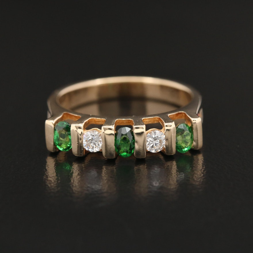 14K Yellow Gold Diamond and Tsavorite Ring