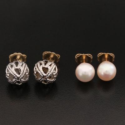 14K Gold Stud Earrings Including Pearls