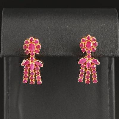 18K Ruby Chandelier Earrings