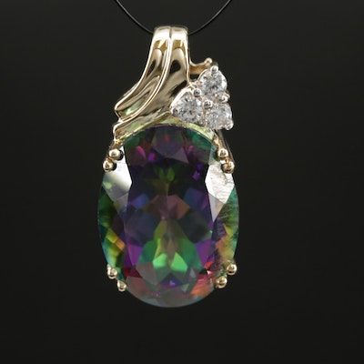 14K Yellow Gold Mystic Topaz and Cubic Zirconia Pendant
