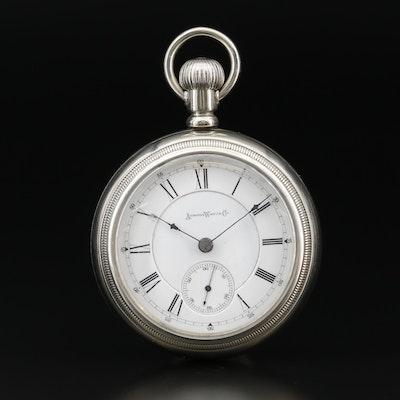 1886 Aurora Watch Co. Nickel Open Face Pocket Watch