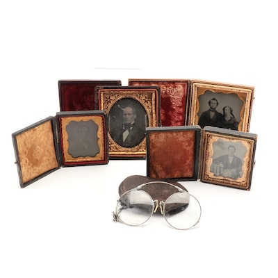 Portrait Tintypes and Daguerreotype with Eyeglasses, Mid to Late 19th Century