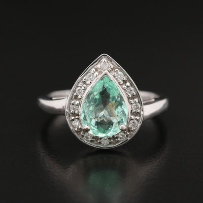 18K White Gold Beryl and Diamond Ring