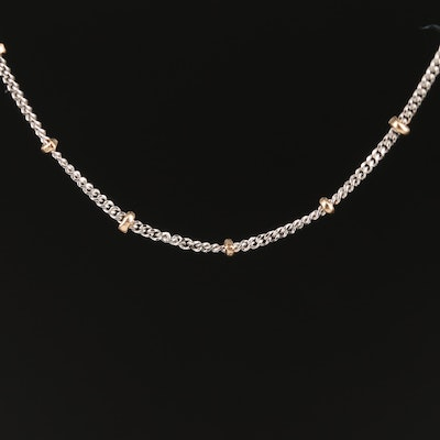 14K Gold Beaded Station Necklace