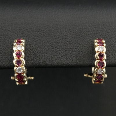 14K Yellow Gold Ruby and Diamond J Hoop Earrings