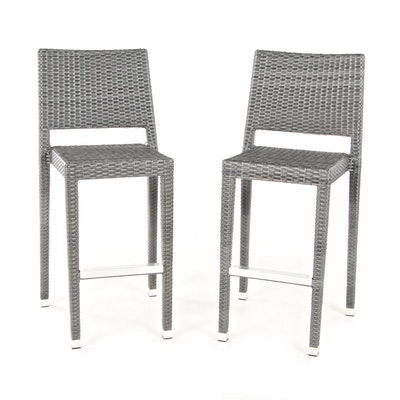 Pair of Gray Synthetic Wicker Barstools