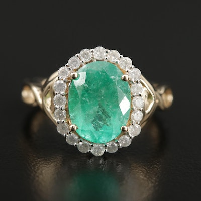 14K Yellow Gold 2.74 CT Emerald and Diamond Ring