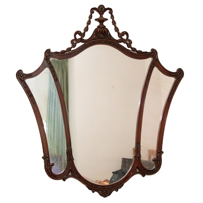 Chippendale Style Mahogany Finish Wall Mirror, Mid to Late 20th Century