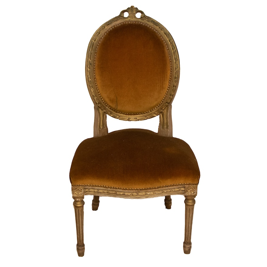 Louis XVI Style Painted Wooden Medallion-Back Ladies Chair