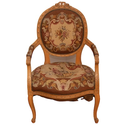 Louis XV Style Needlepoint-Upholstered Medallion-Back Wooden Fauteuil