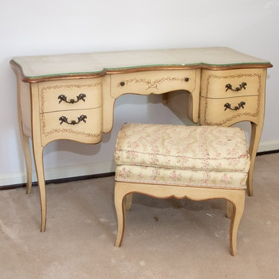 French Provincial Style Painted Vanity Table with Upholstered Bench