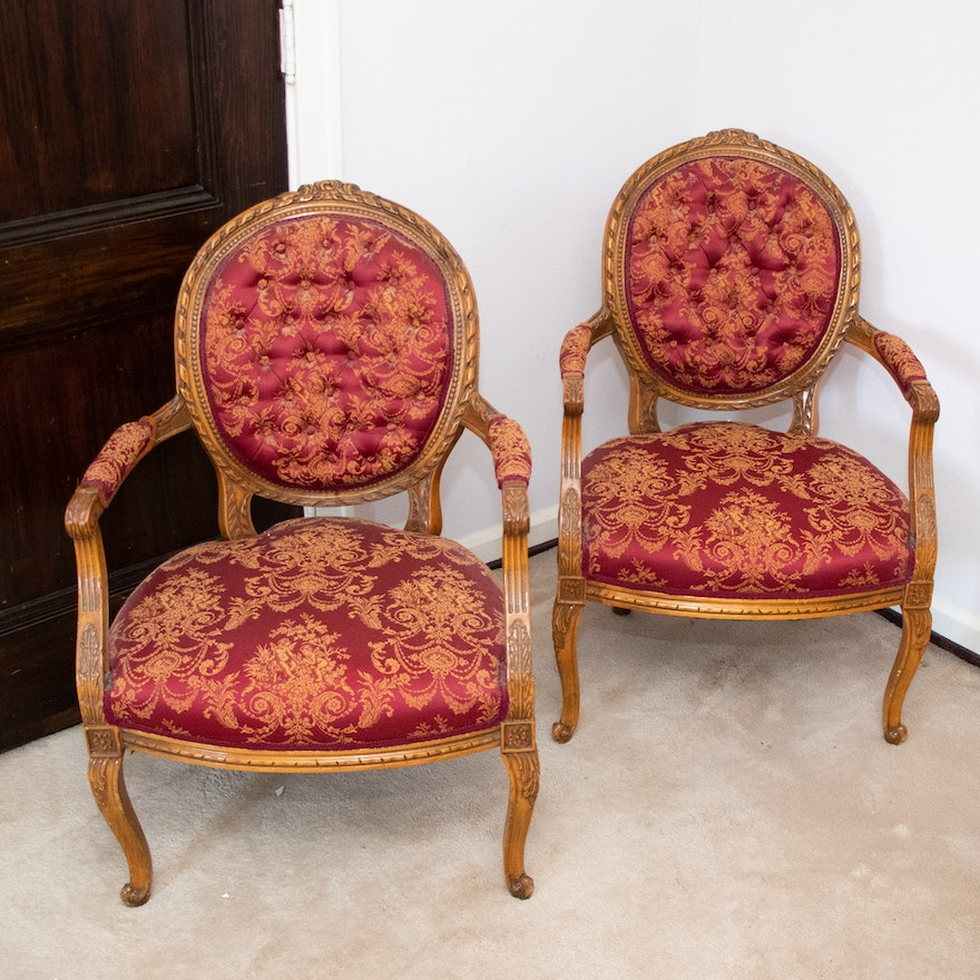 Pair of Louis XV Style Carved Wood Medallion-Back Fauteuils