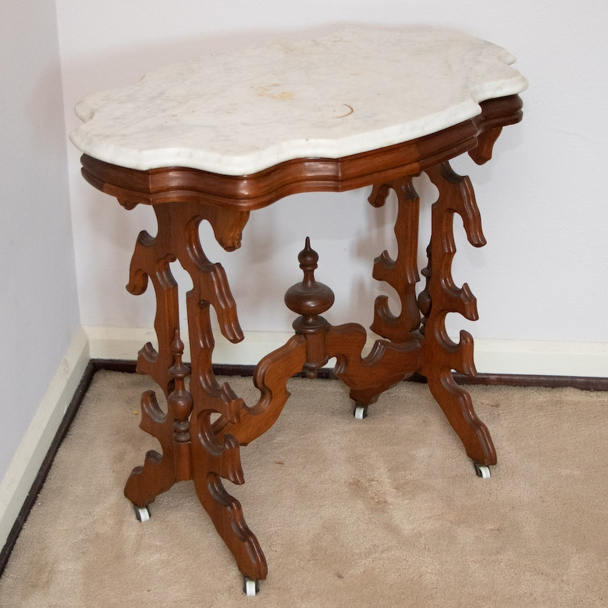 Victorian Mahogany and Marble Top Side Table, Early 20th Century