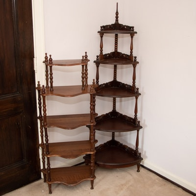 Victorian Baluster and Spindle Whatnot Shelving, Late 19th/Early 20th Century
