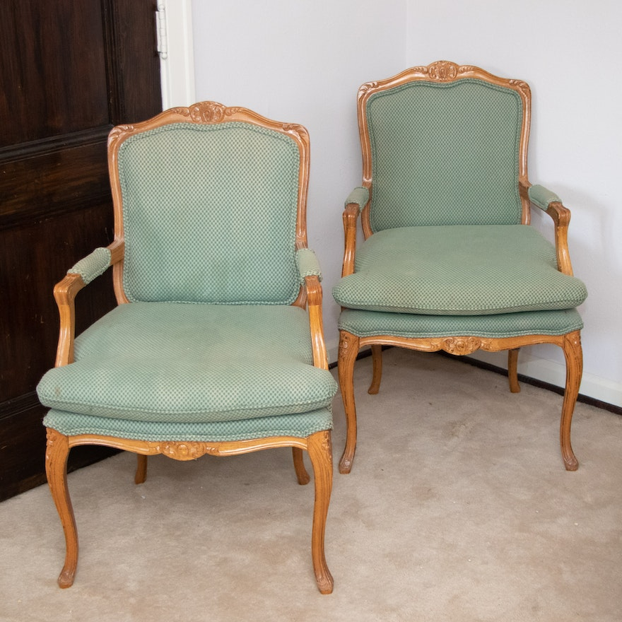 Pair of Louis XV Style Carved Fruitwood Fauteuils, Late 20th Century