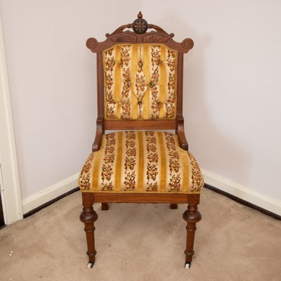 Victorian Eastlake Style Walnut Side Chair, Late 19th/Early 20th Century