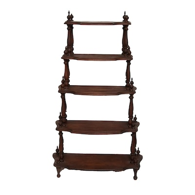 Victorian Walnut  Étagère with Graduated Serpentine Shelves, Mid-19th Century