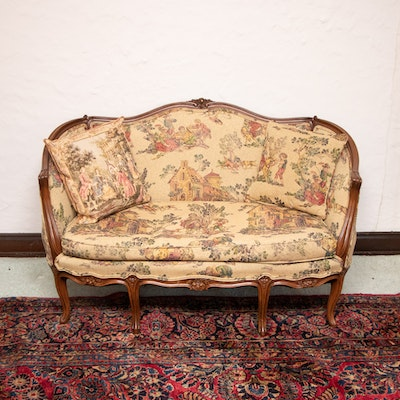 Louis XV Style Pictorial Tapestry-Upholstered Canape Sofa, 20th Century