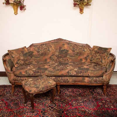 Louis XVI Style Upholstered Sofa and Matching Ottoman