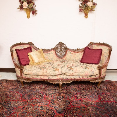 Rococo Revival Carved Wood Frame Upholstered Sofa, First Half 20th Century
