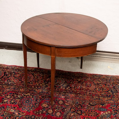 Federal Style Walnut Flip-Top Accent Table on Tapered Legs