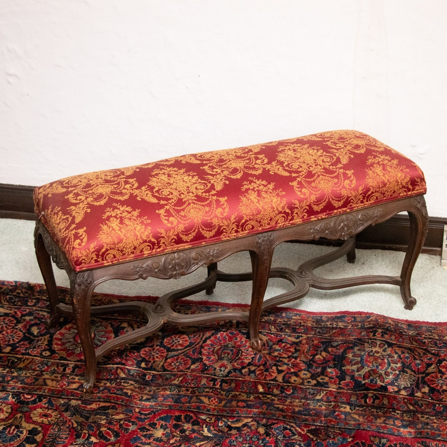 Louis XV Style Upholstered Wood Bench, 20th Century