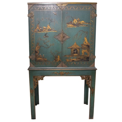 Chinoiserie-Decorated Pictorial Bar Cabinet-on-Stand