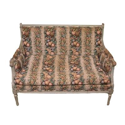 Sheraton Style Loveseat Sofa With Fruit Motif Upholstery