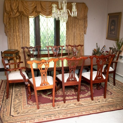 Chippendale Style Mahogany Leaf Dining Table and Chairs