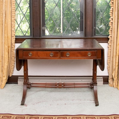 Regency Style Mahogany Drop-Leaf Writing Desk, 20th Century