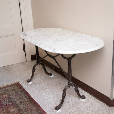 Marble and Iron French Style Table, 20th Century