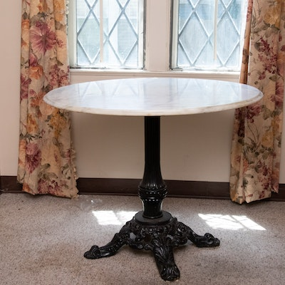 French Style Marble-Top Iron Round Dining Table