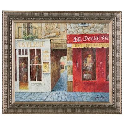 Oil Painting of Parisian Street Scene, 21st Century