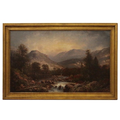 Landscape Oil Painting of a Romantic Style Forest Scene