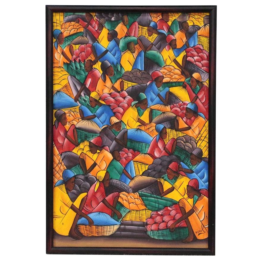 Nènèl Haitian Folk Art Oil Painting Market Scene,  20th Century