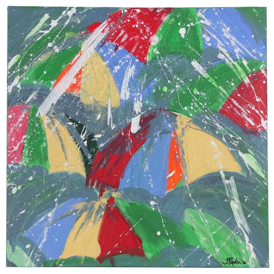 """J. Popolin Abstract Acrylic Painting """"Rainy Day Dream Away"""""""