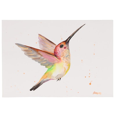 Anne Gorywine Watercolor Painting of Hummingbird