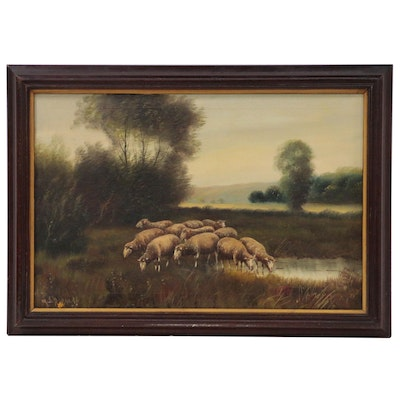 Marie Durand Pastoral Oil Painting of Sheep in Meadow