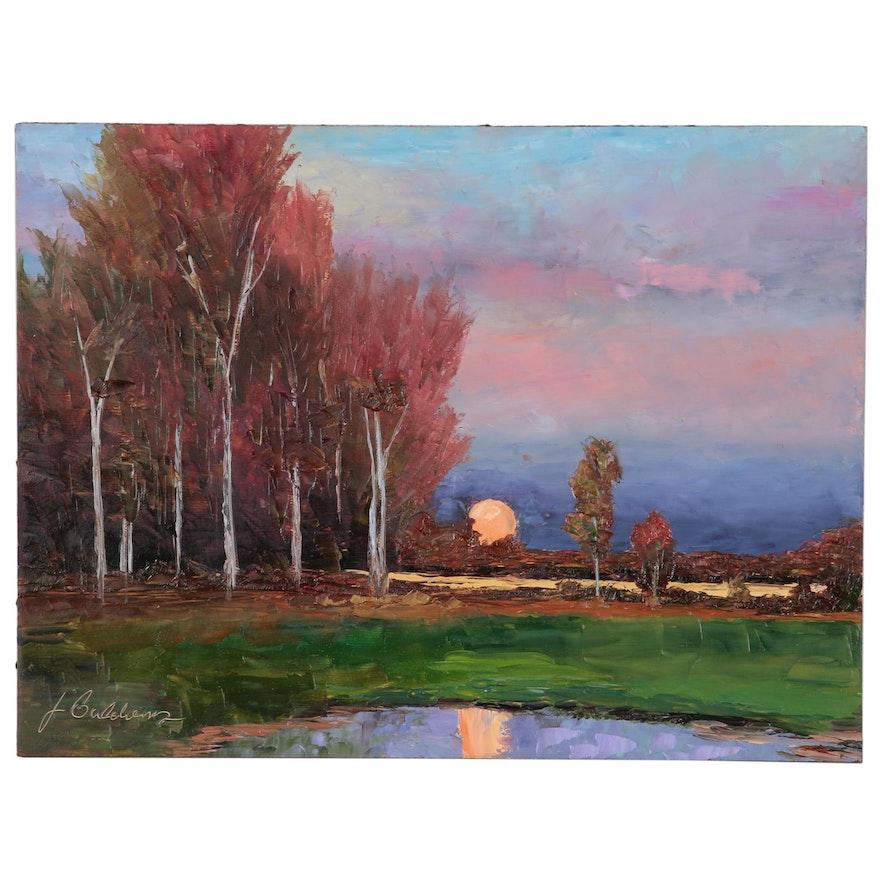 """James Baldoumas Landscape Oil Painting """"Moonrise"""""""