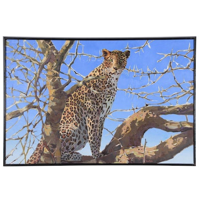 Monumental African Leopard Oil Painting, 21st Century