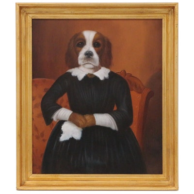 Oil Painting of Anthropomorphic Dog in Black Dress