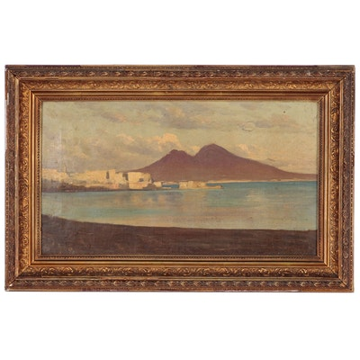 Italian Landscape Oil Painting of Naples Attributed to Edward Binyon, 1876