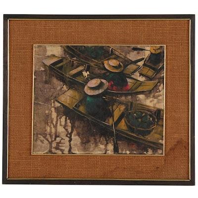 "Prayat Pongdam Oil Painting ""Floating Market"""
