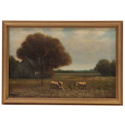Andrew Millrose Oil Painting of Pastoral Scene with Sheep
