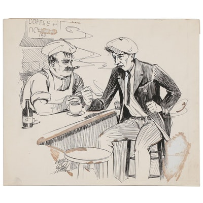 Milton Kahl Pen & Ink Illustration of Coffee Shop Genre Scene, 20th Century