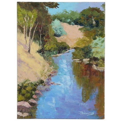 "James Baldoumas Landscape Oil Painting ""Stream"""