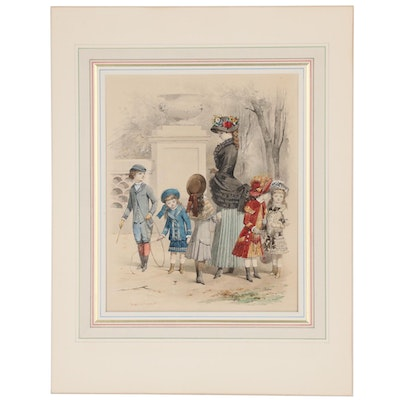Jules David Watercolor and Gouache Illustration of Children at Play, 1882
